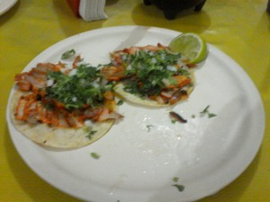 Tacos Pastores at Los Seras! (I already ate half of them :-) 10 pesos each - about .65 U.S.D.
