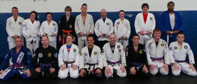 Training at Lima BJJ in one of my early travel/training ventures (Author far left, front)