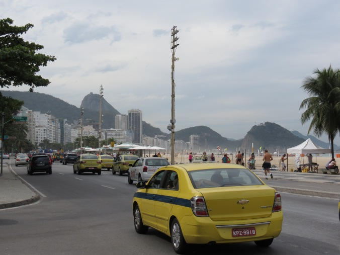 "One of the thousands of ""Blue Stripe"" taxis all over Rio"