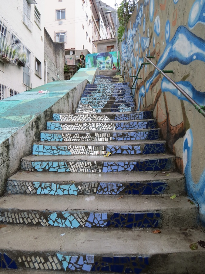 The tiled steps leading to the hostel.