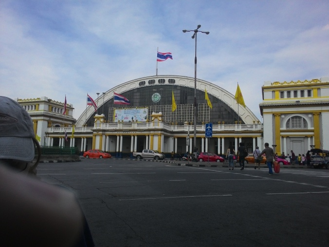 "View of hua Lamphong station from our fave lunch spot the ""Suparestaurant"" (free wifi :-) )"