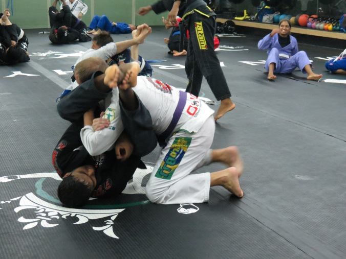 "Chester and I drilling the ""corkscrew"" armbar...."