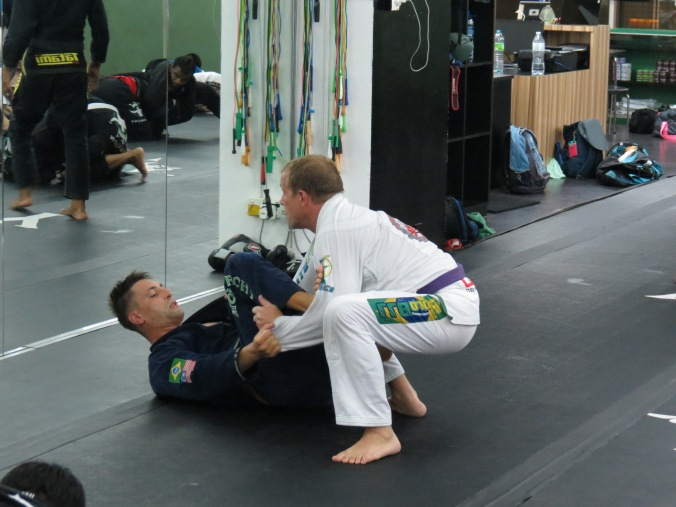 Working to pass Alex's Spider guard!
