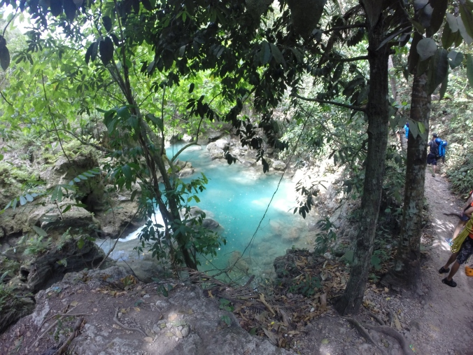 The view of the beautiful blue water of Kawasan Falls canyon.
