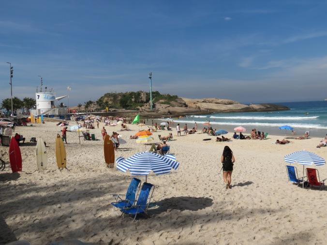 Praia Ipanema starts at Posto 7, just past Arpoador rock.