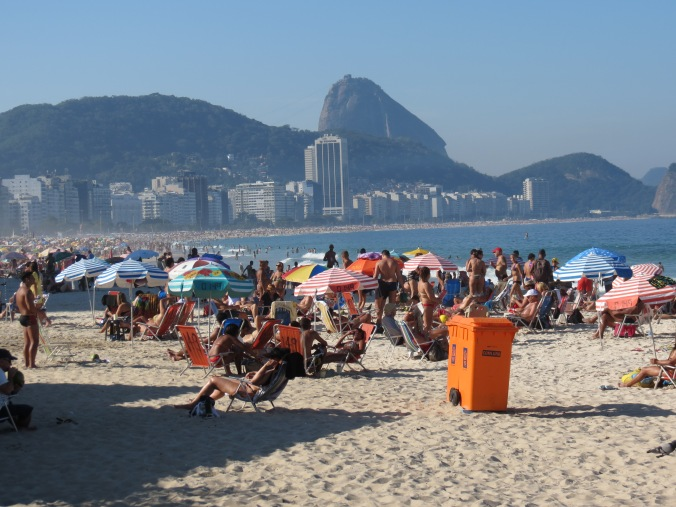 A view of the entire Copacaban from Posto 6. All the chairs and umbrellas are rented for maybe $5.00 a day.