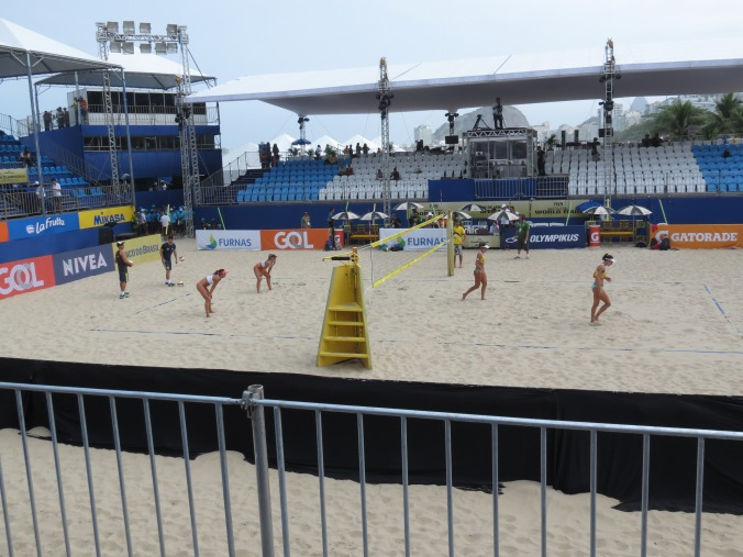 The Professional Beach Volleyball tour comes through the Copacabana down at Posto 2 (the game pictured was an all Brasil final, the fans were pumped!)