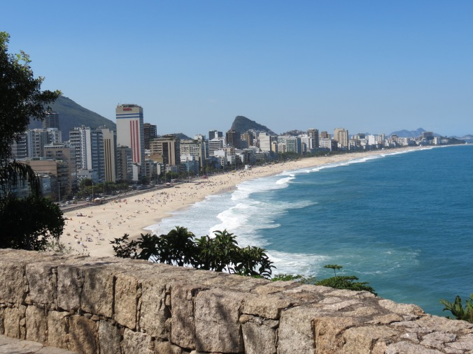 View of Ipanema beach from a Mirante at Dos Irmaus park.