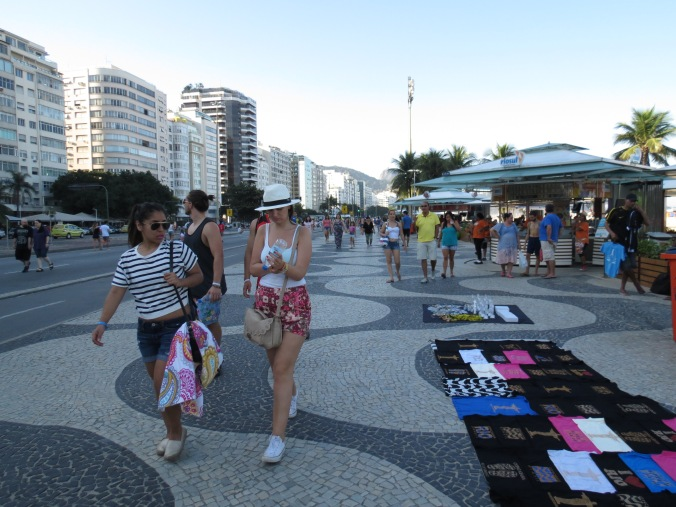 Both The Copa and Ipanema are bordered by Promenades filled with vendors and beach side restaurants. No need to leave for anything :-)